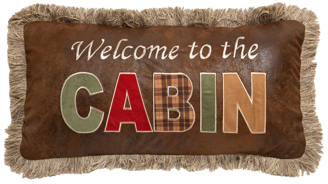 Welcome to the Cabin Faux Leather Throw Pillow