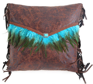 Turquoise Feather Envelope Pillow