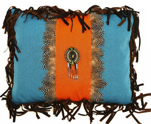 Turquoise & Orange Medallion Pillow