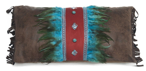 Turquoise Feather and Diamonds Pillow
