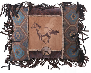 Embroidered Horse Button Pillow