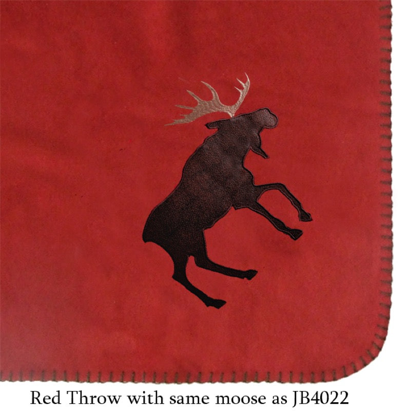 Red suede throw with moose corner