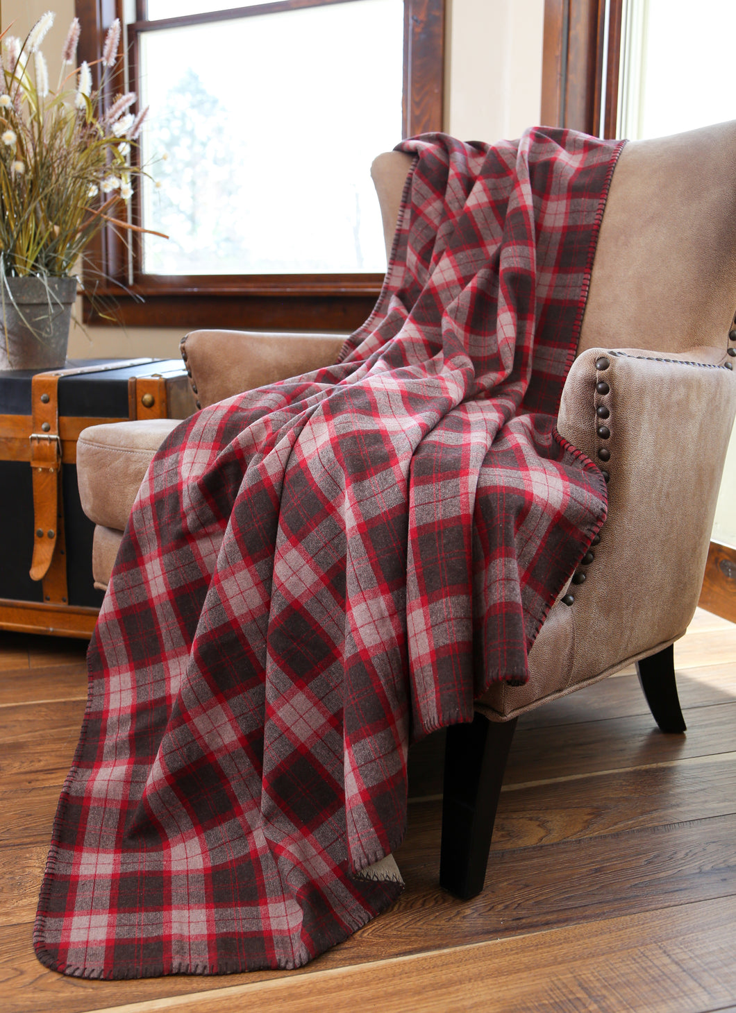 Finlay plaid throw with shearling back