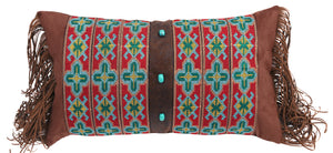 Embroidered Band Pillow with Turquoise Beads
