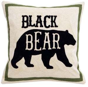 Black Bear Chain Stitch Pillow