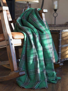 Green Haven Plaid Throw With Shearling Back