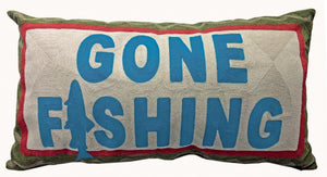 Gone Fishing Chain Stitch Pillow 14x26