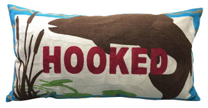 Hooked Chain Stitch Fishing Pillow 14x26