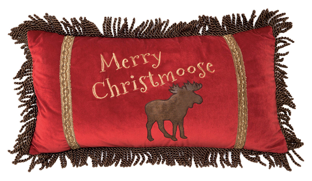Merry Christmoose Red Christmas Pillow 14x26