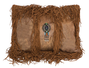 Tobacco Medallion Fringe Pillow