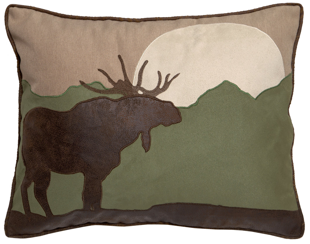 Moose Scene Throw Pillow