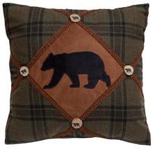Load image into Gallery viewer, Bear & Bear Button Throw Pillow