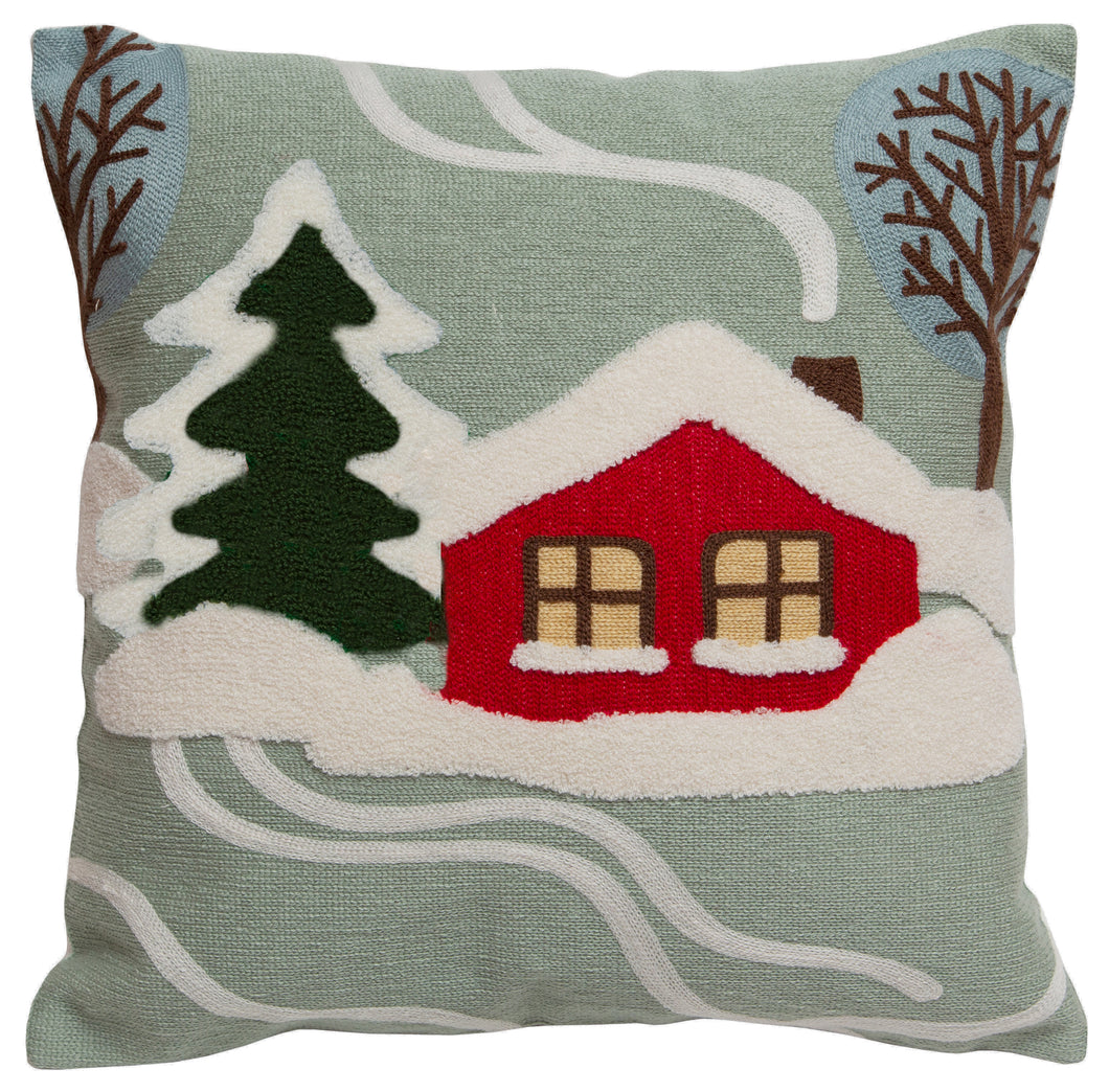 Snowy Cabin Throw Pillow