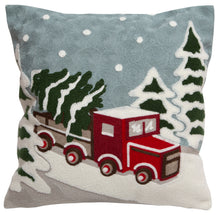 Load image into Gallery viewer, Snow Truck Throw Pillow