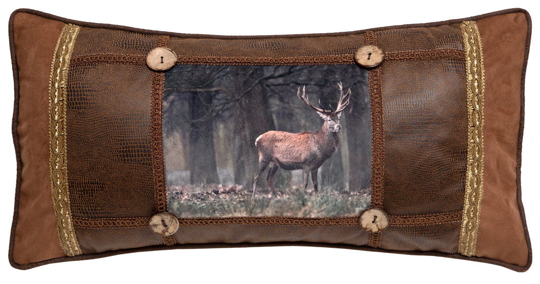 Framed Forest with Buck Throw Pillow