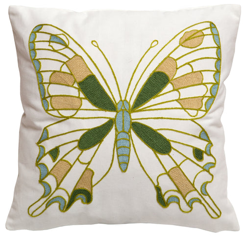 Green Butterfly Throw Pillow