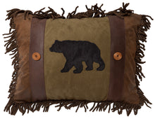 Load image into Gallery viewer, Olive Bear & Button Throw Pillow