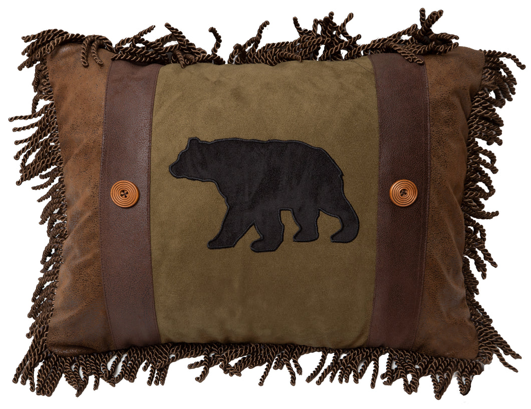 Olive Bear & Button Throw Pillow