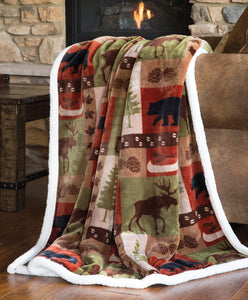 Patchwork Lodge Plush Throw