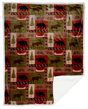 Load image into Gallery viewer, Patchwork Lodge Plush Throw