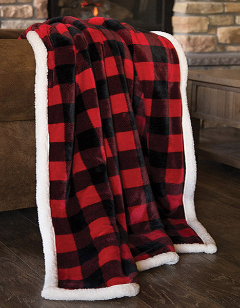 Lumberjack Plaid Sherpa Plush Throw (Red)