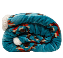 Load image into Gallery viewer, Turquoise Southwest Sherpa Throw