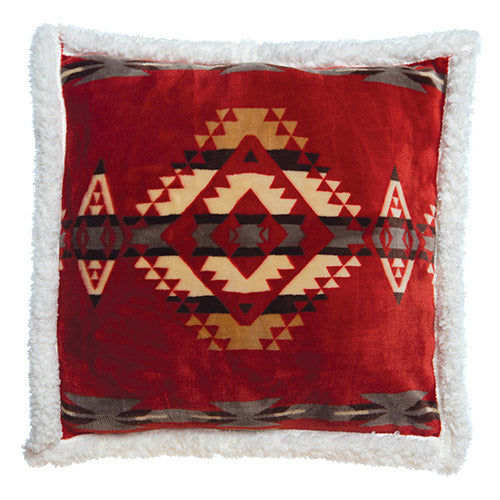 Red Southwestern Extra Plush Sherpa Pillow 18x18
