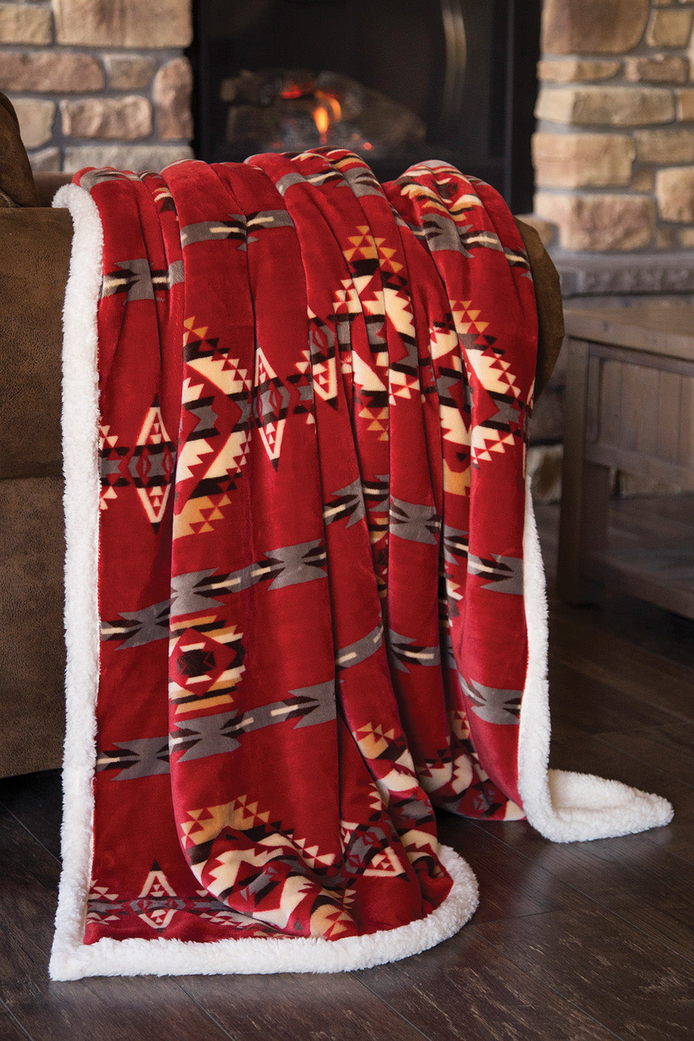 Red Southwest Sherpa Throw
