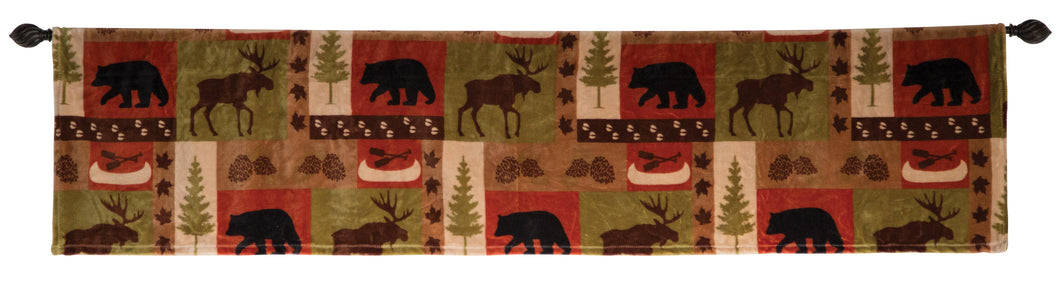 Patchwork Lodge Rustic Cabin Valance 80x15