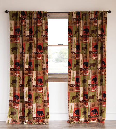 Patchwork Lodge Rustic Cabin Curtain Panels (Set of 2 Panels)