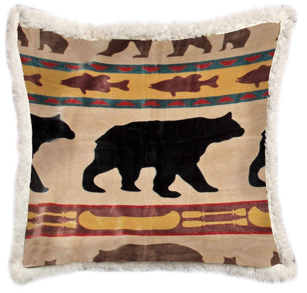 Bear Family Sherpa Throw Pillow