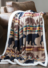 Load image into Gallery viewer, Bear Family Sherpa Fleece Throw Blanket