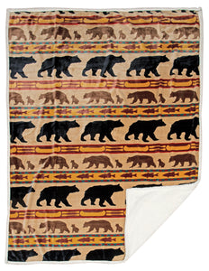 Bear Family Sherpa Fleece Throw Blanket