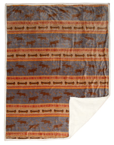 Moose Tracks Sherpa Fleece Throw Blanket