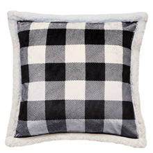 Load image into Gallery viewer, Black & White Lumberjack Sherpa Throw Pillow