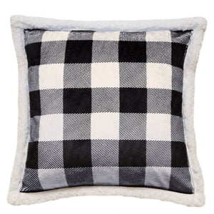 Black & White Lumberjack Sherpa Throw Pillow
