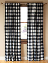 Load image into Gallery viewer, Black & White Lumberjack Curtain Panels