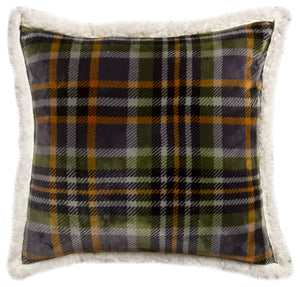 Grey Plaid Sherpa Throw Pillow