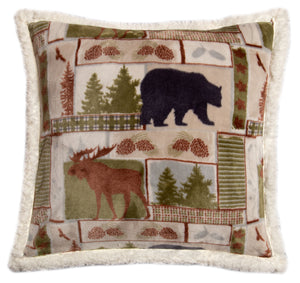 Vintage Lodge Sherpa Throw Pillow