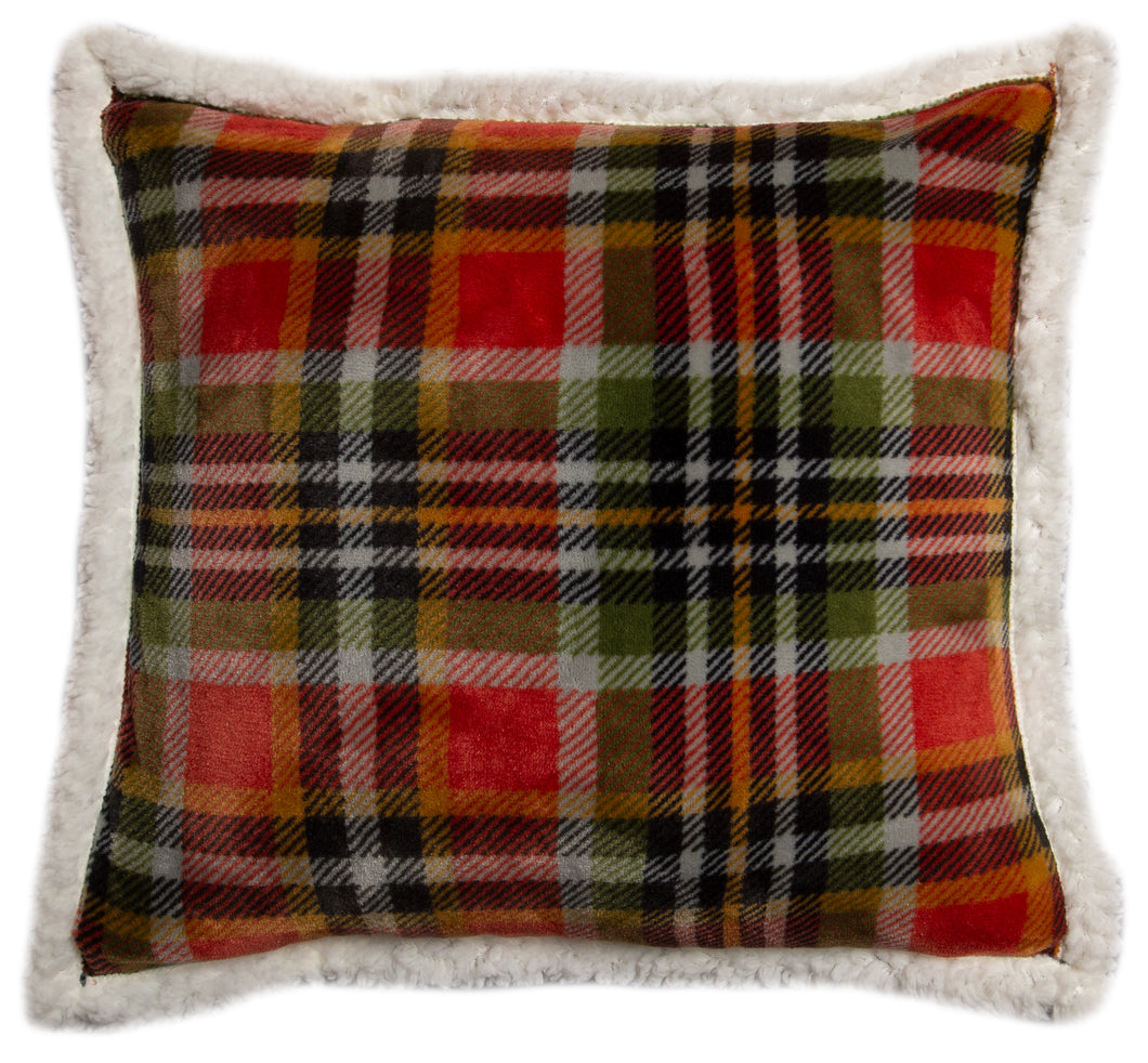 Rust & Sage Plaid Sherpa Throw Pillow