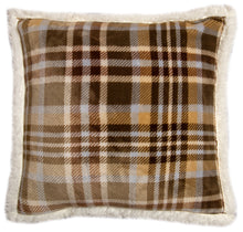Load image into Gallery viewer, Tan Plaid Sherpa Throw Pillow