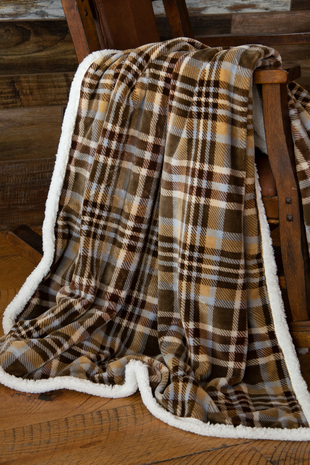Tan Plaid Sherpa Throw Blanket