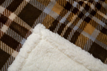 Load image into Gallery viewer, Tan Plaid Sherpa Throw Blanket