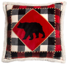 Load image into Gallery viewer, Lumberjack Bear Sherpa Throw Pillow
