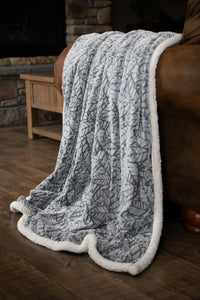 Grey Cut Leaf Sherpa Throw Blanket