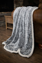 Load image into Gallery viewer, Grey Cut Leaf Sherpa Throw Blanket