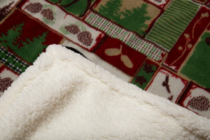 Vintage Holiday Sherpa Throw Blanket