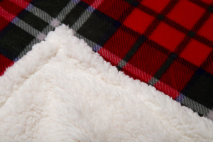Holiday Plaid Sherpa Throw Blanket