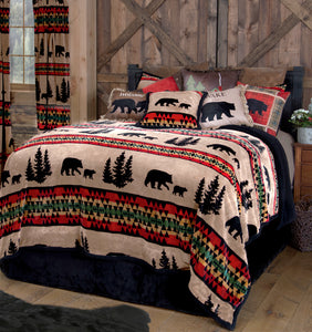 Bear Trails Black Sherpa 3 Piece Bedding Set