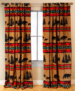 Bear Trails Rustic Cabin Curtain Panels Set 54x84
